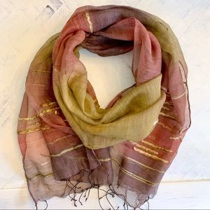 Fleurs Natural Silk Fringed Scarf In Fall Colors